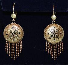 VINTAGE DECO Enamel Design Earrings with Tassels 7 grams 14kt Extremely FINE
