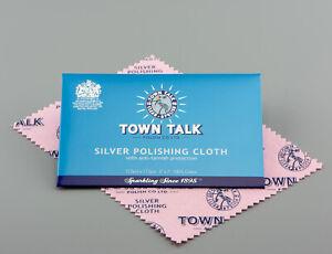 Town Talk Anti-Tarnish SILVER Jewellery Cleaning & Polishing Cloth 12.5 x 17.5cm