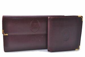 Authentic Cartier Must de Cartier Wallet Leather Bordeaux Red 2Set C8404