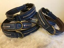 Dog Collar Genuine Leather Diamante Padded 65cm UK SELLER