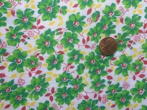 FLORAL Full Vtg FEEDSACK Quilt Sewing Doll Clothes Craft Fabric Green Red Yellow