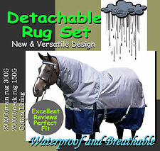 "COMFORT VERSATILE DETACHABLE 2000D 6'0"" WINTER  PADDOCK HORSE RUG SET(s)"