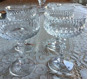 Stunning Set of 4 Heavy Cut Crystal Champagne/Sherbet Glasses Never Used MINT!!