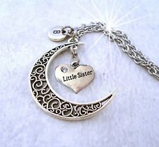 Little Sister Filigree Crescent Moon Necklace, Little Sister Gift, Sisters Rock!
