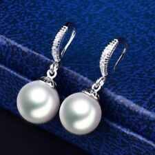 18 K White Gold Filled White Pearl & Sapphire Hook Earrings