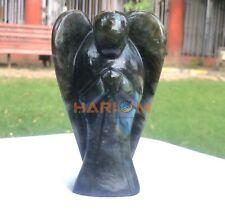 Lebradorite Angel Statue Handmade Standing Angel Spirit Semi Precious Gemstone