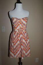 PARKER Lily orange multi-color silk Mini Strapless Dress Sundress Small $242