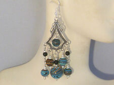 Gemstone Earrings- Turquoise, Black Onyx & 925 Sterling Silver- long chandeliers