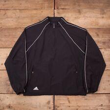 Mens Vintage Adidas Climaproof Black Quarter Zip Windbreaker Jacket XL 48 R10662