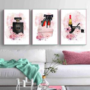 Perfume Lipstick Fashion Poster Canvas Print Wall Art Picture Girls Room Decor