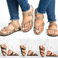 Womens Slide Buckle T-Strap Cork Footbed Flats Flip Flops Shoes Sandals Slipper