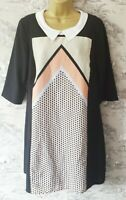 M & S Limited Collection Shift Dress Sz 16 Colour Block  Collar RARE  MOD