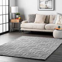 nuLOOM Handmade Contemporary Modern Geometric Wool Area Rug in Grey