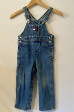 Vintage Tommy Hilfiger Jeans Kids Bib Overalls Blue Flag Logo Carpenter Sz 3T