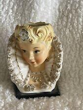 "Vintage Ucagco Lady Head Vase High Victorian Fan Collar Flower 6.5"""