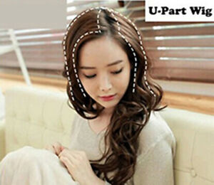 """22"""" Natural Wavy Synthetic Hair U Part Half Wigs Topper Piece for Women"""