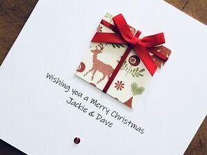 "Personalised Handmade Christmas Cards - Present 6"" X 6"""