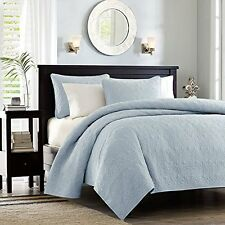 Full/Queen Quilted Coverlet Blanket Light Blue Cover Comfort Bedding 3 pieces