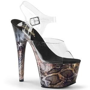 """Pleaser 7"""" snake skin print platform stripper shoes"""