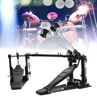 Double Bass Drum Pedal Kick Twin Dual Chain Drive Percussion Aluminum Alloy new