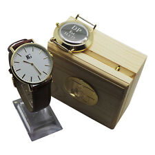 Engraved 24k Gold Leather Mens Gents Luxury Watch Groom Usher Dad Husband