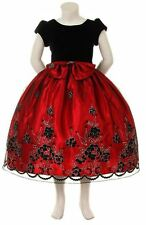 New Flower Girls Red Flocked Dress Pageant Wedding Christmas Birthday Party 5993