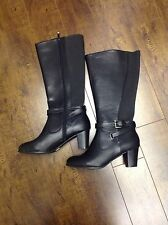 Penningtons Ladies Stylish Black Faux Leather 11W Boots Womens Wide Calf Boot
