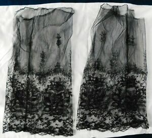 ANTIQUE PAIR OF FINE BLACK LACE SLEEVES