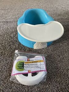 Bumbo Baby Seat With White Play Tray Blue With Safety Harness Kit Included
