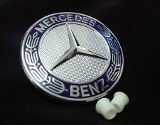 Mercedes Benz GENUINE Blue Hood Emblem With Grommets Emblema ( 57mm - 2.14 in )