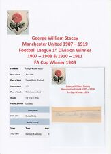 GEORGE STACEY MANCHESTER UTD 1907-1919 EXTREMELY RARE ORIG HAND SIGNED CUTTING