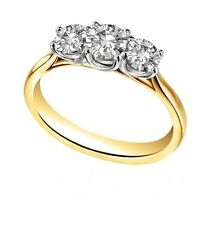 Diamond-Unique Trilogy Engagement Ring 18ct Gold 1.25ct Fully Hallmarked