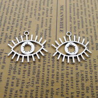 10pcs Charms Eye Shape with Eyelash Tibetan Silver Beads Pendant DIY 22*26mm