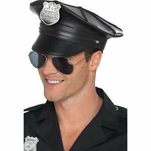 Deluxe Police Hat Black Faux Leather Cop Cap Mens Adult Fancy Dress Costume