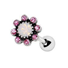 "Stud 16G 1/4"" Steel Piercing Jewelry Pretty Pink Flower Cartilage Tragus Bar"
