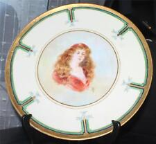 """Antq T&V LIMOGES Artist Signed ART DECO Hand Painted Woman Portrait 12"""" Charger"""