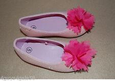 Toddler Girls SHOES Ballet Flats PINK GLITTER Hot Pink Flower  6