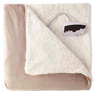 BIDDEFORD HEATED MICROPLUSH QUEEN SHERPA BLANKET TAUPE MSRP $240 NEW IN PACKAGE