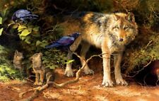Jigsaw Puzzle Animal Wild Wolf Cubs Bird Food Critic 1000 pieces NEW made in USA