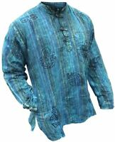 Mens Stonewashed Striped Faded Grandad Shirt Collarless Washed Out Tops