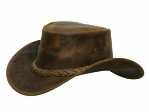 LuxHide Mens Cow Hide Genuine Leather Cowboy Western Hat
