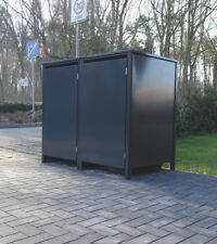 2 Mülltonnenboxen o.Stanzung Anthrazit komplett RAL 7016 für 240Liter Mülltonnen