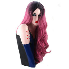 Lolita Black Pink Ombre Wig Lady Wavy Curly Long Hair Costume Party + Wig Cap