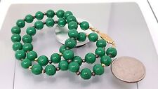"""Vintage Chinese Green Jade Beaded Necklace 18"""""""