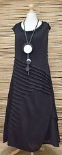 *ZUZA BART*DESIGN HAND MADE PURE LINEN BEAUTIFUL A-LINE DRESS**BLACK** XL-XXL