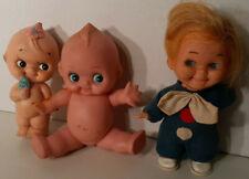 """Vtg Lot 3 Kewpie Dolls rubber moveable starfish hands 8"""" Flower Squeak Smile"""
