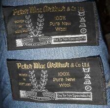 """Designer Labels Lot 2 NOS Tags """"Peter MacArthur & Co Ltd Woven in Scotland Wool"""""""