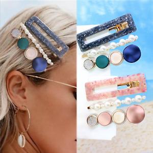 Womens Hair accessories Girls Clip Slide Snaps Pearl Gold leopard  Barrette pins