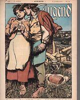 1897 Jugend April 17 German Art Nouveau Cover - Springtime Love on the farm