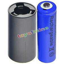 1x AA 3000mAh BLU Ni-MH batteria ricaricabile+1xC Batteria Converter Adapter